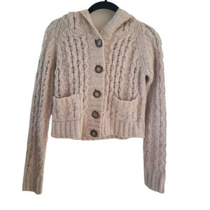 Free People Chunky Knit Cropped Hooded Cardigan